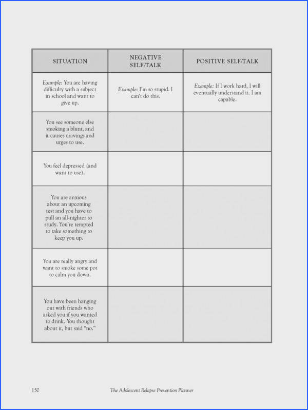 A multi use exercise worksheet on self talking taken from The Adolescent Relapse Prevention Cbt
