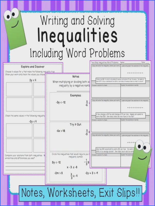 Inequalities Notes and Practice Includes Word Problems
