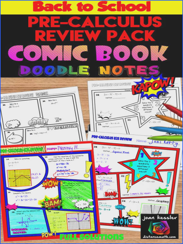 Pre Calculus Back to School ic Book Doodle Note Review Bundle