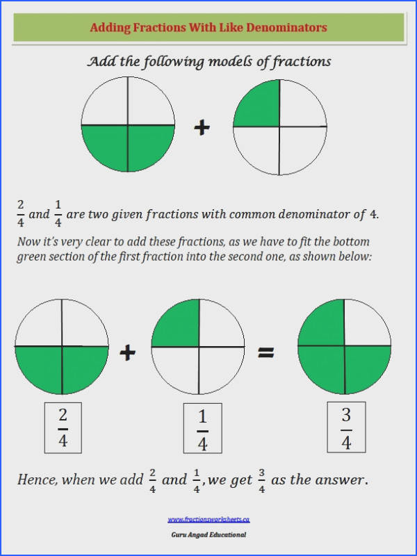 Adding fractions with like denominators worksheets and lessons