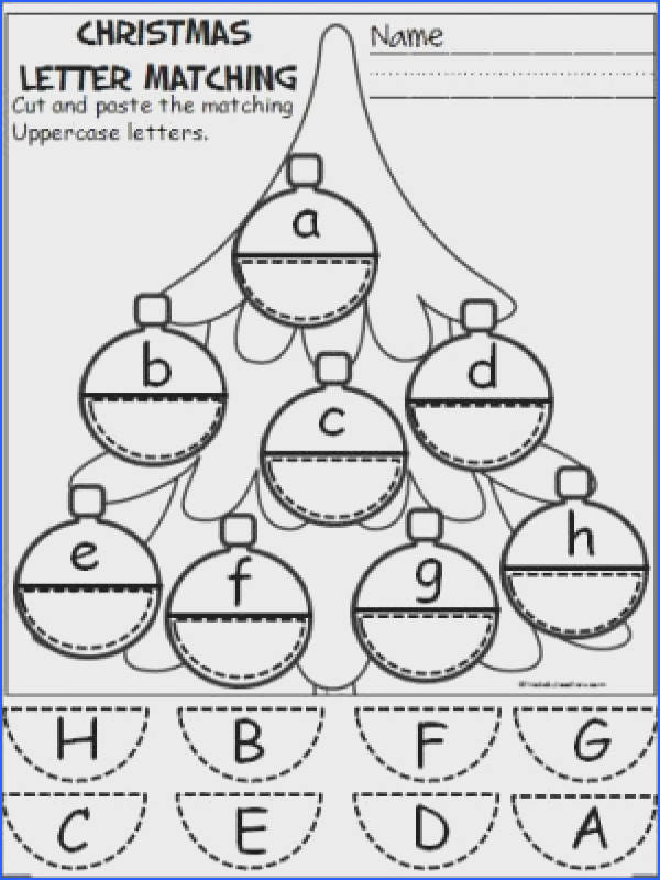 Free Christmas ornament alphabet activity Students cut and paste to match uppercase and lowercase letters