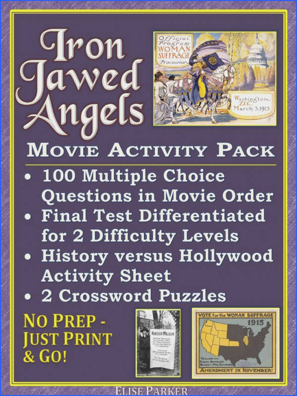Iron Jawed Angels Worksheet and Activity Pack Suffrage Worksheets