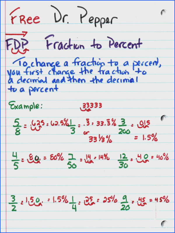 fraction percent decimal notebook pages