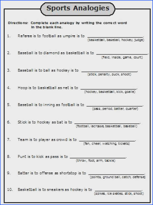 5Th Grade Analogies Worksheet Worksheets for all Download and Worksheets