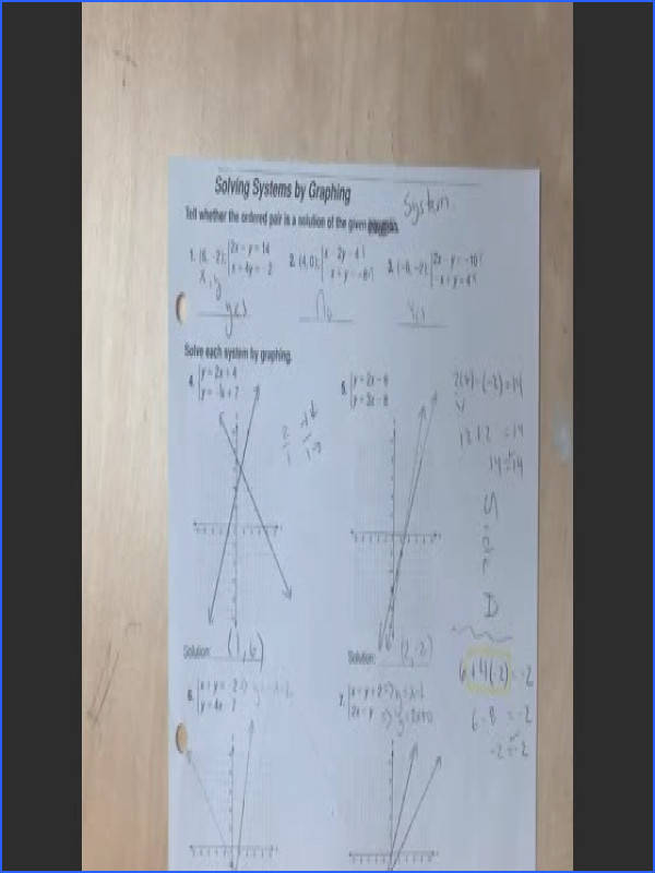 11 14 and Answers to Solving Systems of Equations by Graphing Worksheet