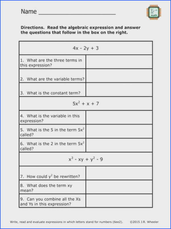 Free worksheet Identify Parts of an Expression