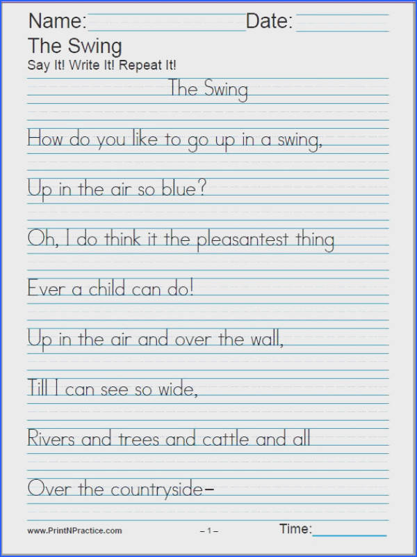 Manuscript Printable Handwriting Worksheets for handwriting practice