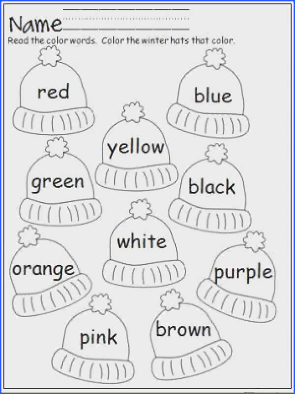 Free winter hats coloring activity that provides practice with color words Terrific for Pre K and Kindergarten January Pre K & Kindergarten