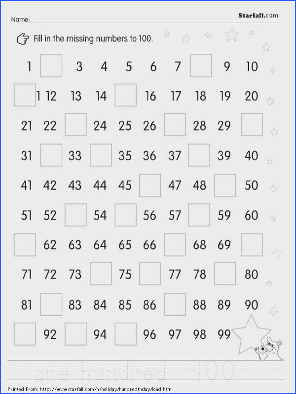 Fill in the missing numbers to 100 worksheet