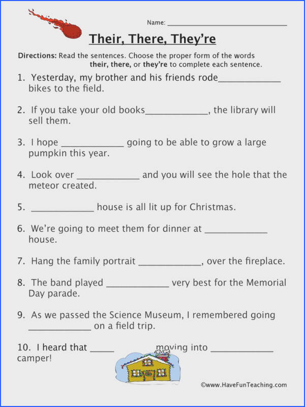 Homophones Worksheet Read the sentences Choose the proper form of the words their