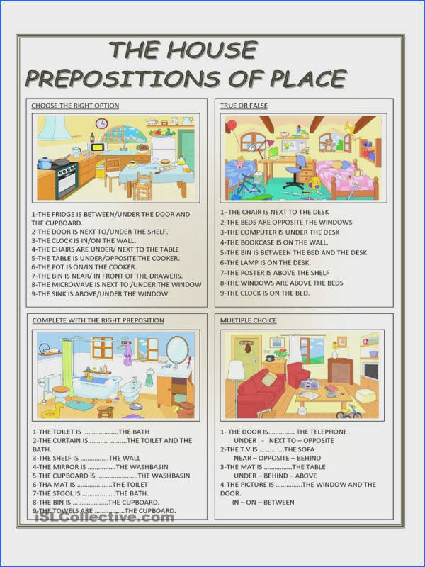 There are four activities about prepositions of place ESL worksheets