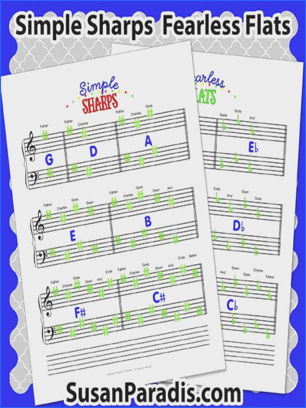 Simple Sharps and Fearless Flats are two worksheets that teach students how to draw key signatures