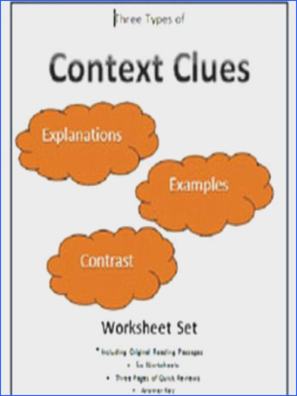 Context Clues Three Types Worksheet Set This file includes six worksheets plus three pages