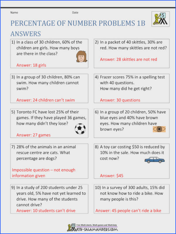 6thade Math Percent Word Problems Worksheets Six Problem With Answers Pdf Printable 6th Grade mon Core