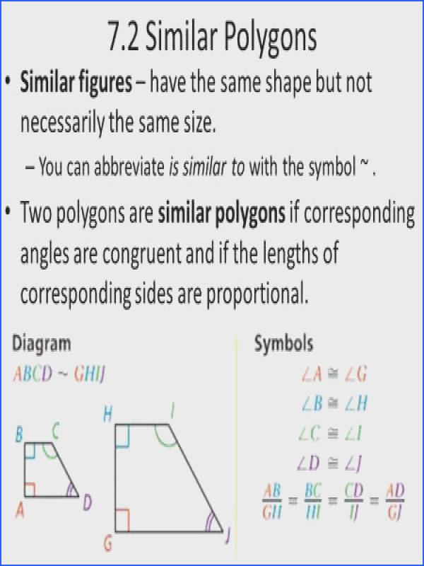 7 2 Similar Polygons Similar figures – have the same shape but not necessarily the same size