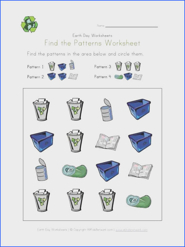 Earth Day Patterns Worksheet