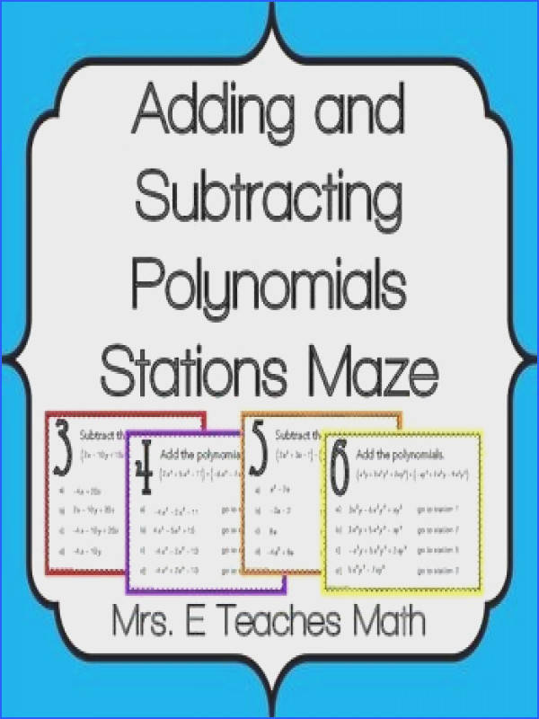 Add and Subtract Polynomials Stations Maze Activity