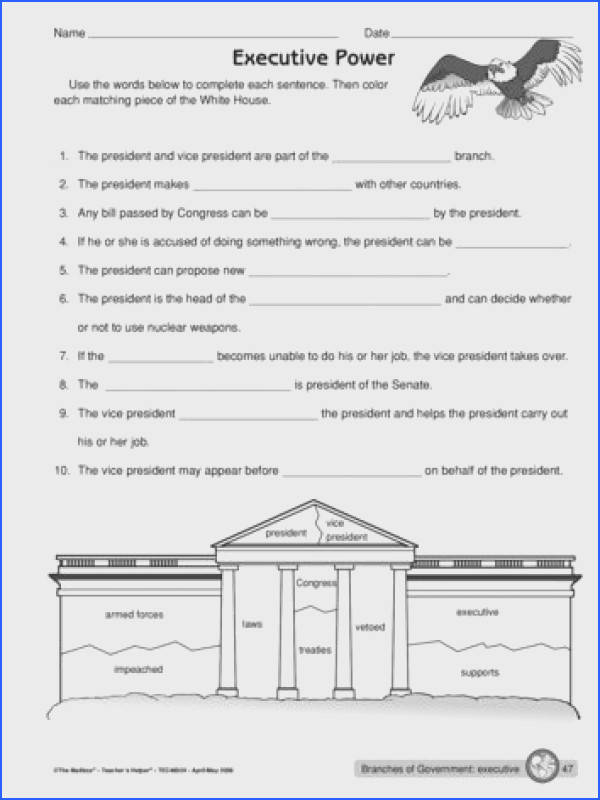 Worksheet executive branch of government