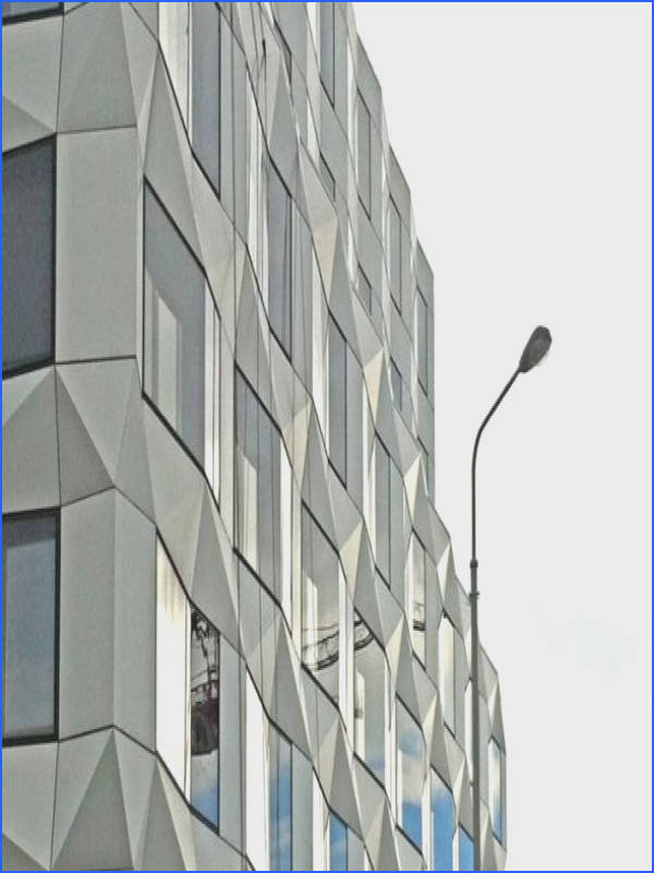 The Keystone building was designed by Swiss architecture studio EM2N with the facade of
