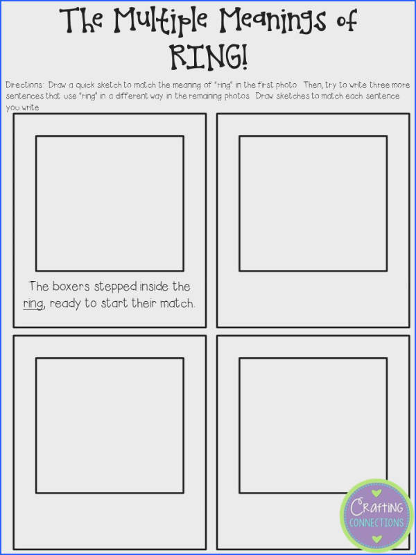 Multiple Meaning Words Worksheet for FREE