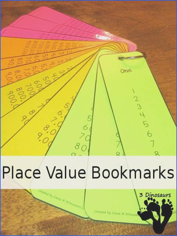 Free Place Value Bookmarks 4 bookmarks per page place value from ones to hundred billion