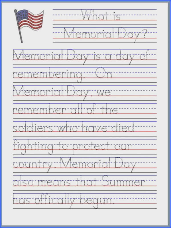 Memorial Day Handwriting Worksheet Free Printable