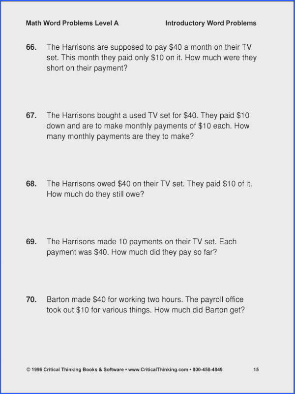 7Th Grade Math Word Problems Worksheets Pdf Worksheets for all Download and Worksheets