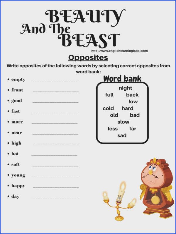 beauty and the beast worksheet opposites