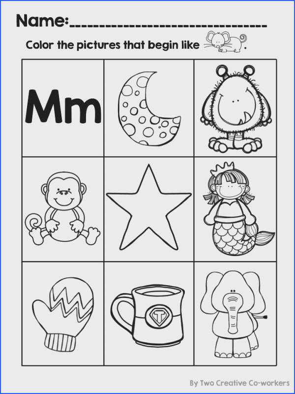 Students can identify and color pictures that begin with the letter Mm on this worksheet available