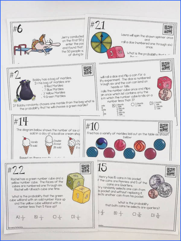 Probability of Simple and pound Events Task Cards