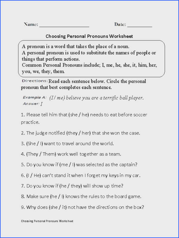 This challenging regular pronouns worksheet directs the student to read each sentence and circle the personal pronoun that best pletes each sentence