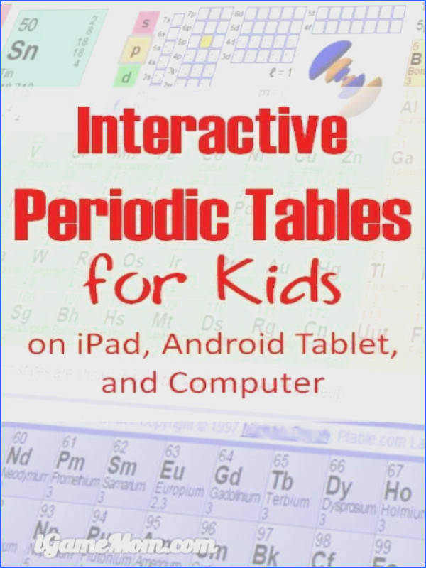 8 Interactive Periodic Tables with names charges and other information on iPad Android tablet