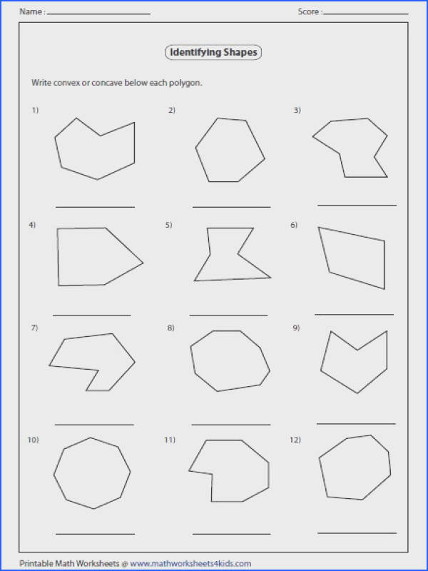 Practice worksheets contain identifying types like regular irregular concave or convex polygon area and perimeter of polygon