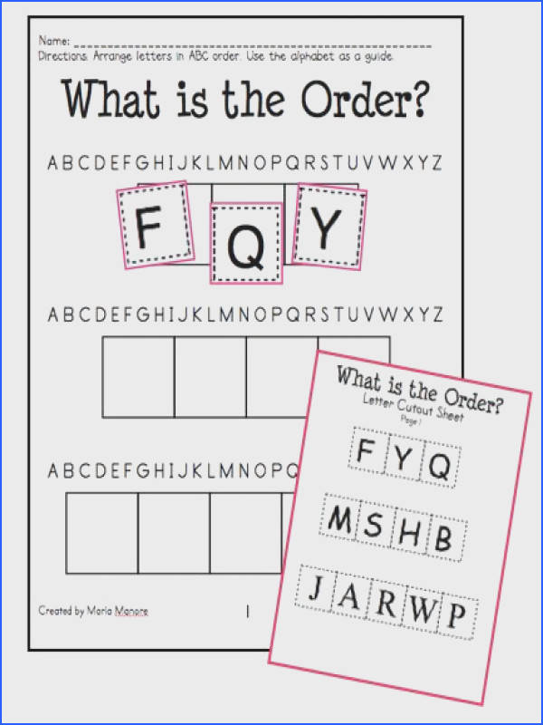 ABC Order Introduction Hands Worksheets for Grades