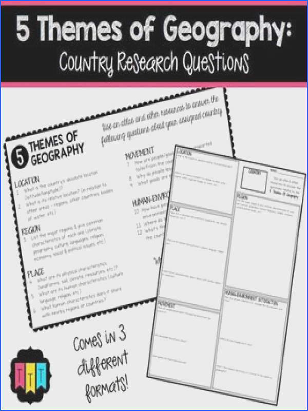 Five Themes of Geography Country Research QuestionsIncrease your students knowledge of world geography with this easy to use freebie