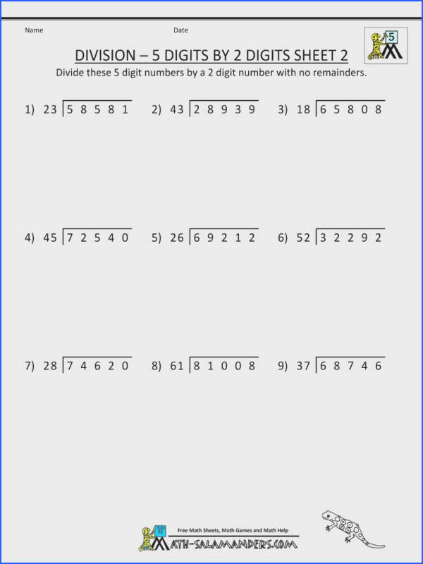 printable math sheets division 5 digits by 2 digits 2