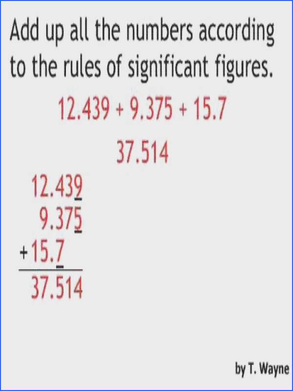 Significant Figures Addition and Subtraction Example