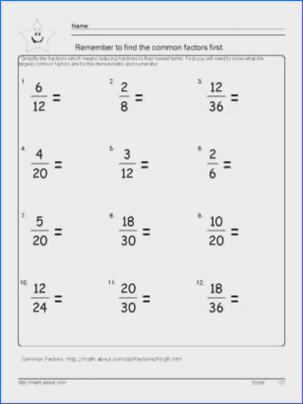 9 Worksheets On Simplifying Fractions for 6th Graders Image Below Simplifying Fractions Worksheet