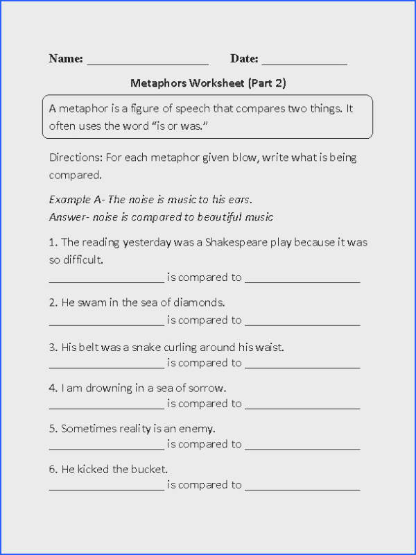 These metaphors worksheets are great for working with metaphors Use these metaphors worksheets for the beginner and intermediate levels