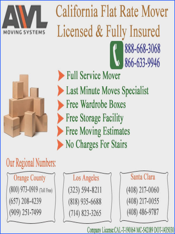 Flat rates for your moves licensed & insured local mover call today at toll free numbers or for free estimates