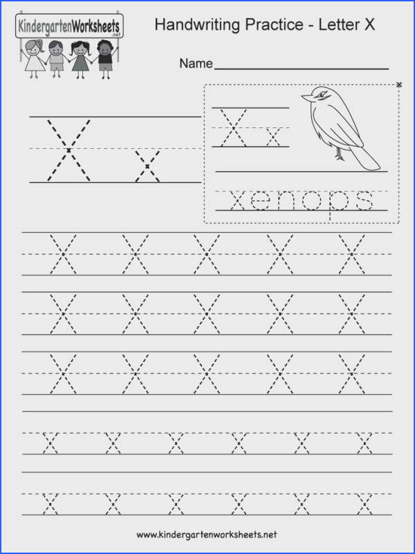 Letter X handwriting practice worksheet This series of handwriting alphabet worksheets can also be cut