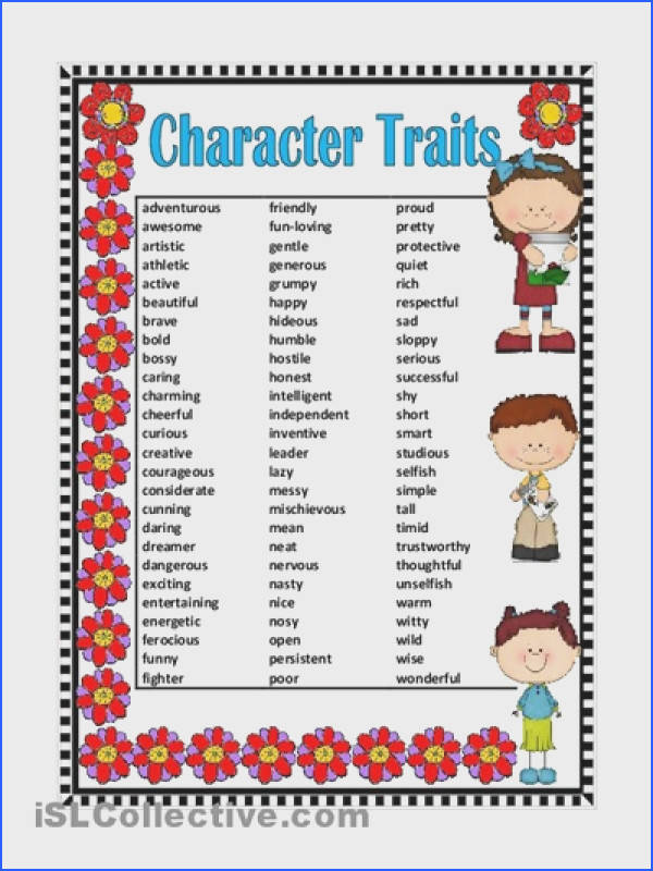 character traits worksheet elementary Google Search
