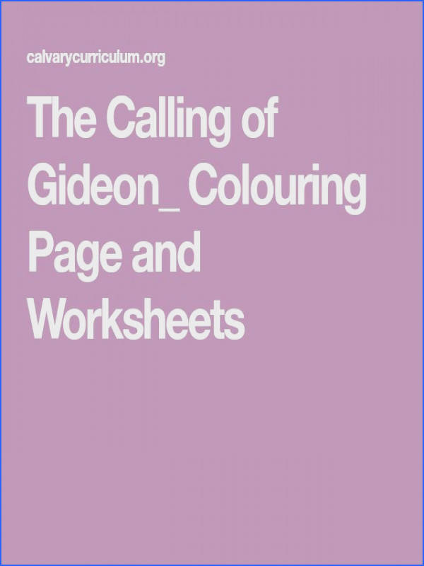 The Calling of Gideon Colouring Page and Worksheets
