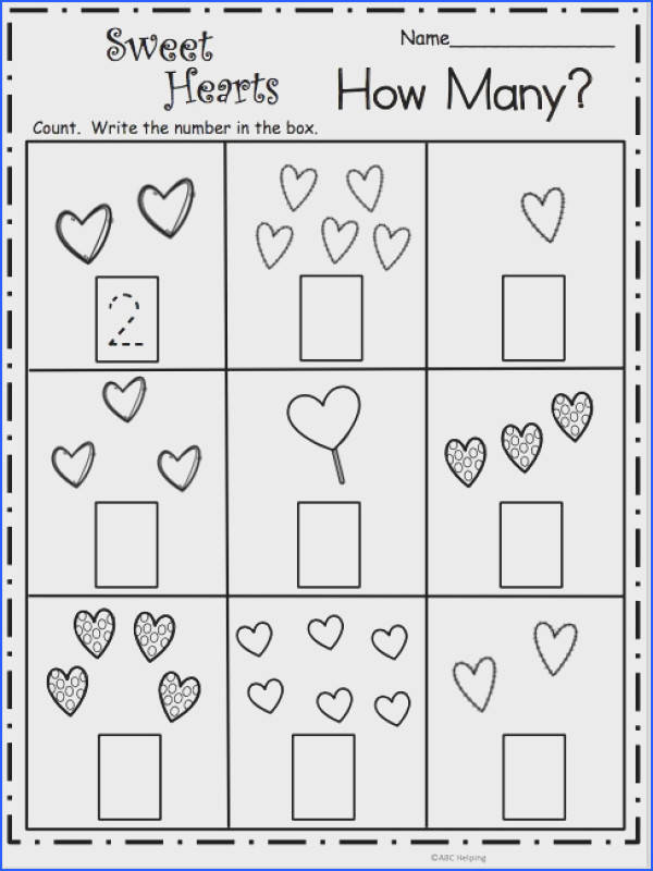 Free Valentine s Day math worksheet Count and write the number of hearts in each box