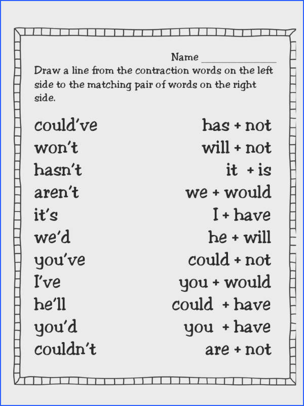 first grade contraction worksheets Google Search