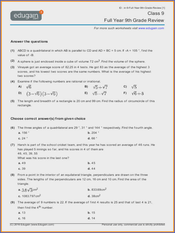 Adorable Math Worksheets Grade 9 Academic With Additional 12 9th Grade Math Worksheets of Math