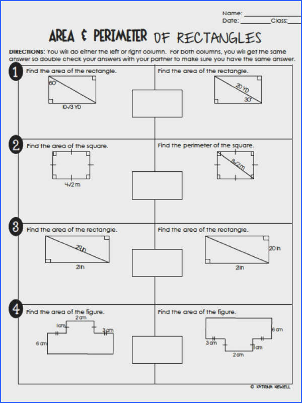 FREE Area and Perimeter of Rectangles Partner Activity Worksheet