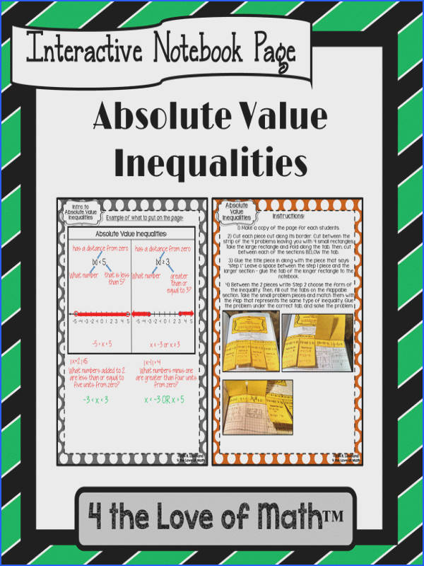 Absolute Value Inequalities Interactive Notebook Pages $