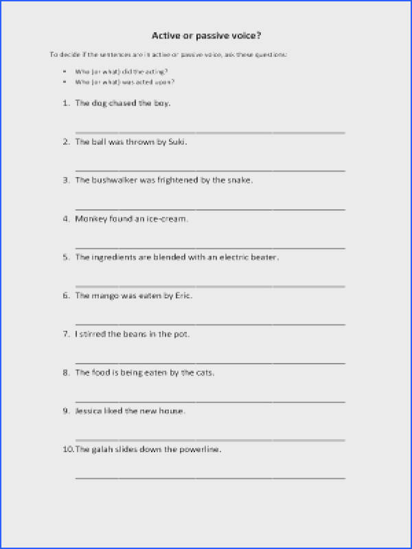 Active And Passive Voice Worksheet Answers Worksheets For All