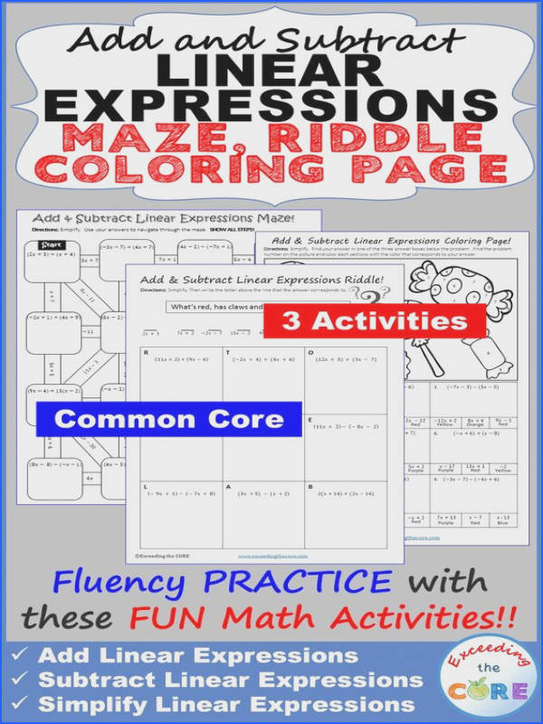 Have your students apply their understanding of ADDING & SUBTRACTING LINEAR EXPRESSIONS rational coefficients